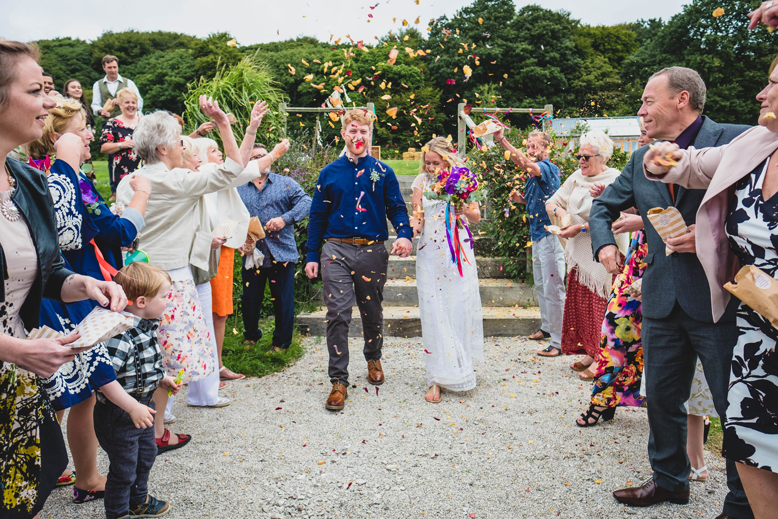 Newly married couple Lauren and James. Flowers by Wheal Sara Flowers venue Hendra Barns